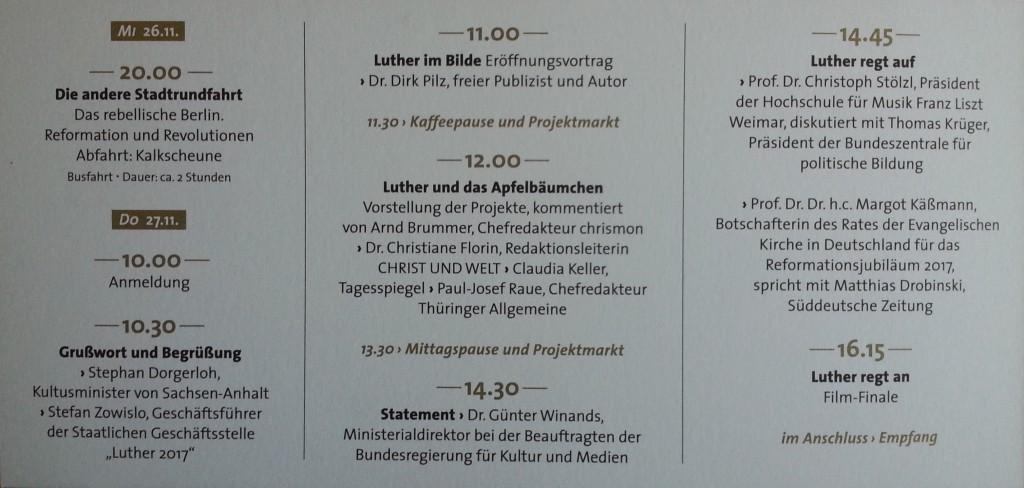 Jour Fixe Luther Programm Kalkscheune